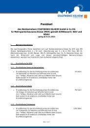 Preisblatt - Stadtwerke Kelheim GmbH & Co KG