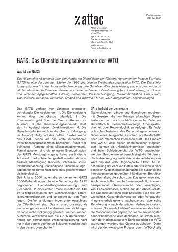 GATS: Das Dienstleistungsabkommen der WTO