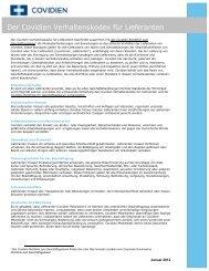 Der Covidien Verhaltenskodex für Lieferanten