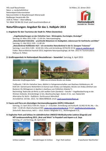 Naturführungen im 1. Halbjahr 2013 von Josef Rauschmeier - LANIUS