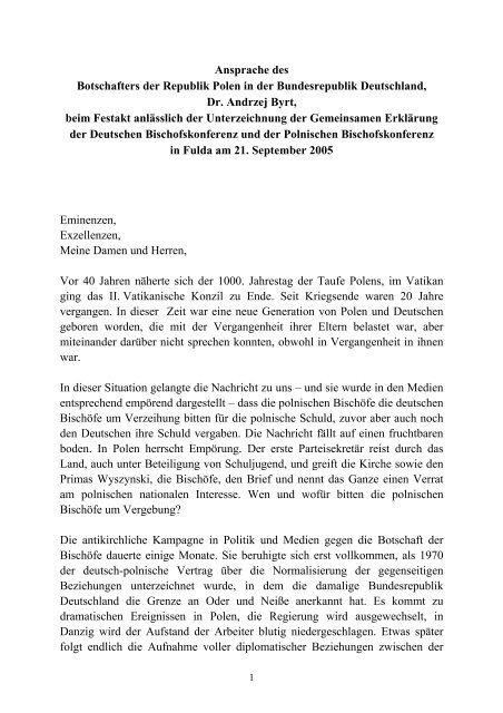 Ansprache Des Botschafters Der Republik Polen In Der