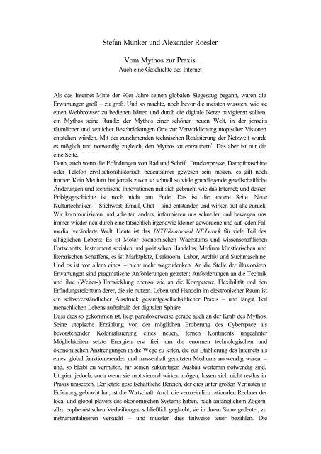 Stefan Münker und Alexander Roesler Vom Mythos zur Praxis
