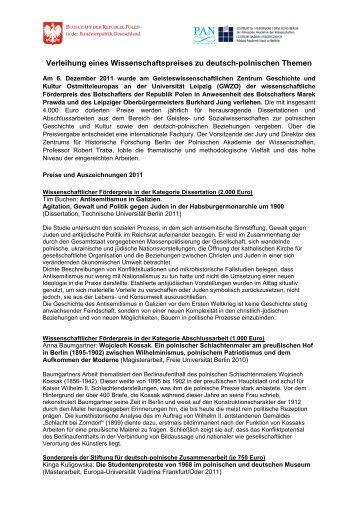 Förderpreis des Botschafters der Republik Polen 2008 - Stiftung für ...