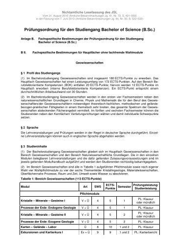 B.Sc. Prüfungsordnung 07.06.2013 Geowissenschaften