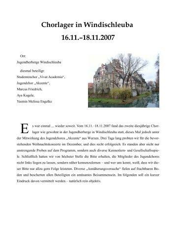Chorlager in Windischleuba 16.11.–18.11.2007 - Vivat academia