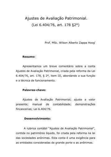 Ajustes de Avaliação Patrimonial. - MasterDirect