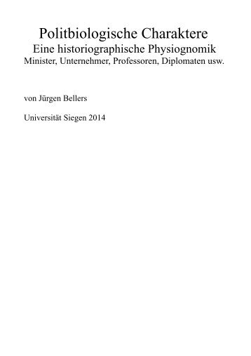 Politbiologische Charaktere - Jürgen Bellers