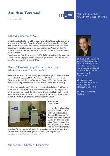 MPW Newsletter Ausgabe Dezember 2012 - Märkischer Presse ...