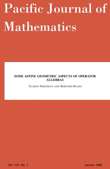 Some affine geometric aspects of operator algebras - MSP