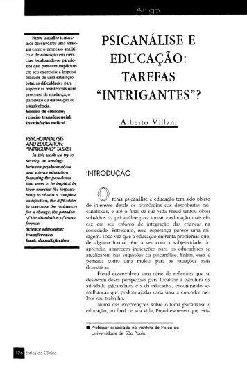 """PSICANÁLISE E EDUCAÇÃO: TAREFAS """"INTRIGANTES""""? - USP"""