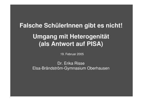 Umgang mit Heterogenität - Elsa-Brändström-Gymnasium