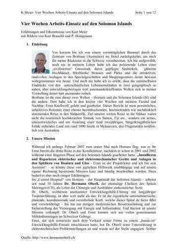 Vier Wochen Arbeits-Einsatz auf den Solomon Islands - Medizin im ...