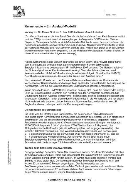 Zusammenfassung Referat von Dr. Marco Streit - Kernkraftwerk ...
