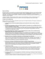 Verhaltenskodex für globale Lieferanten 23/1/13 - PepsiCo