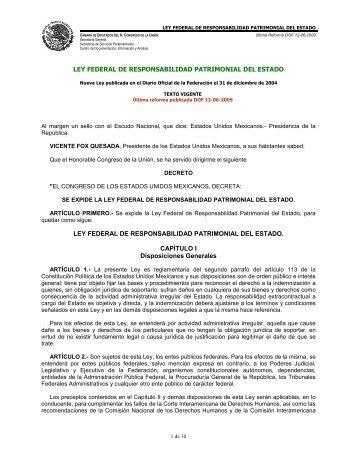 Ley Federal de Responsabilidad Patrimonial del Estado - CONAGUA