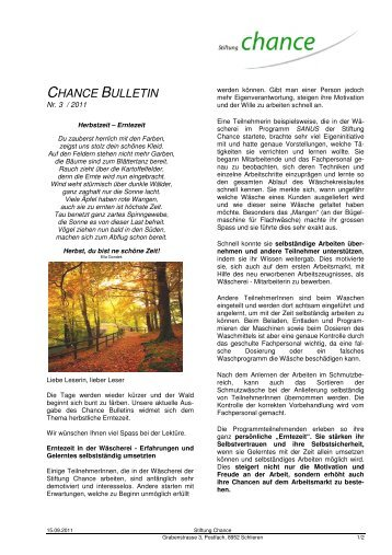 Bulletin September 2011 - Stiftung Chance