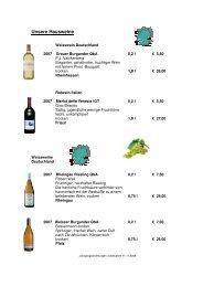 Weinkarte und Barkarte - Park Inn Düsseldorf Süd