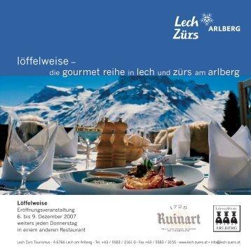"""(Broschüre """"Wein & Firn"""" NEU 16 x 16 cm:Layou - Lech-Zürs"""