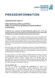 Pressemitteilung als pdf - Baden-Württemberg Stiftung