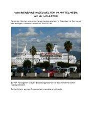 Bericht mit Kreuzfahrt Astor 09