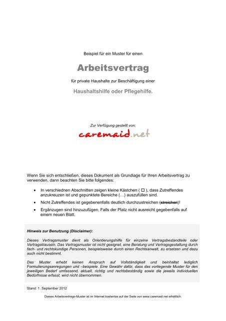 Arbeitsvertrag Für Eu Arbeitnehmer Polen Ungarn Etc Caremaid