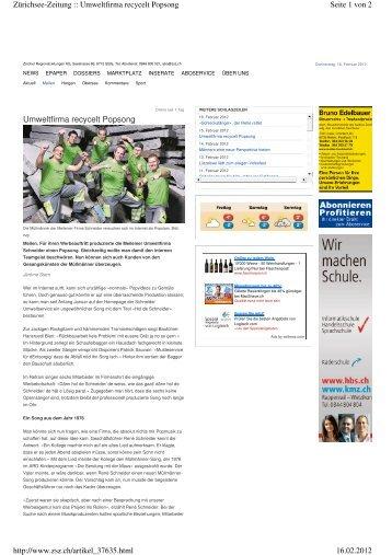 Zeitungsbericht Zürichsee Zeitung (PDF) - Gebrüder Schneider AG