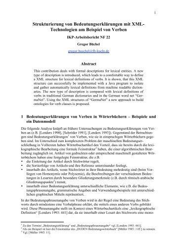 Strukturierung von Bedeutungserklärungen mit XML - Arbeitsbereich ...