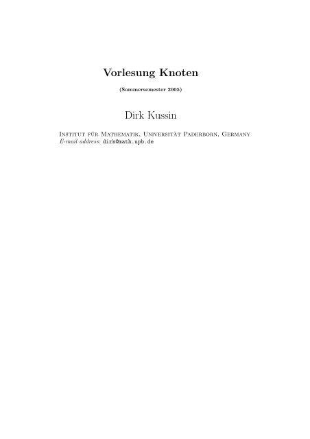 Vorlesung Knoten Dirk Kussin - Institut für Mathematik - Universität ...