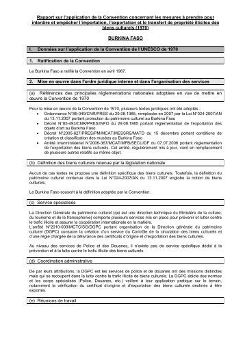 Rapport sur l'application de la Convention concernant les ... - Unesco