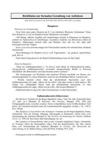 Richtlinien zur formalen Gestaltung von Aufsätzen
