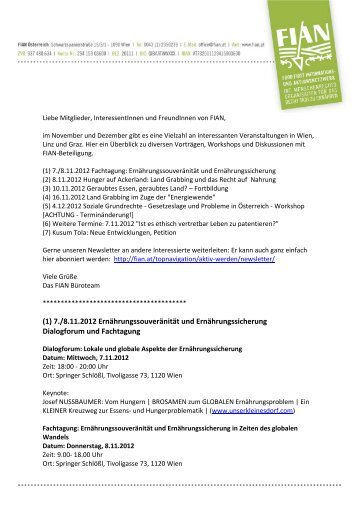 (1) 7./8.11.2012 Ernährungssouveränität und Ernährungssicherung ...