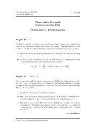 Theoretische Mechanik Sommersemester 2012 ¨Ubungsblatt 7 ...