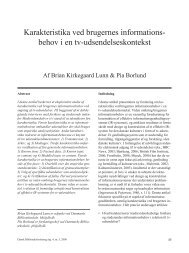 Karakteristika ved brugernes informationsbehov i en tv - Dansk ...