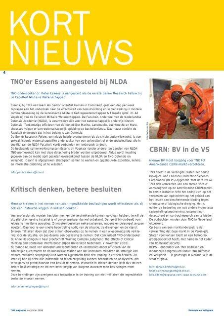 TNO'er Essens aangesteld bij NLDA