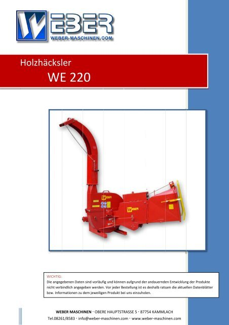 WEBER Maschinenbau Produktübersicht Prospekt von 03//2013 9237