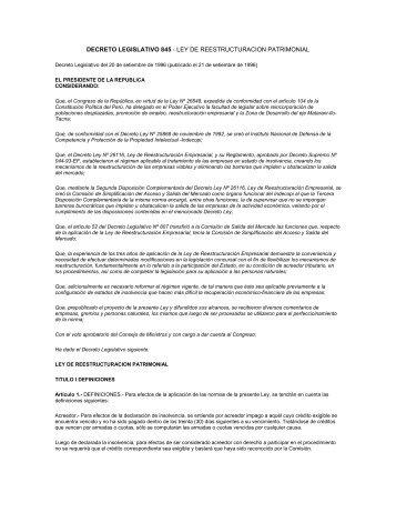 DECRETO LEGISLATIVO 845 - LEY DE ... - Indecopi