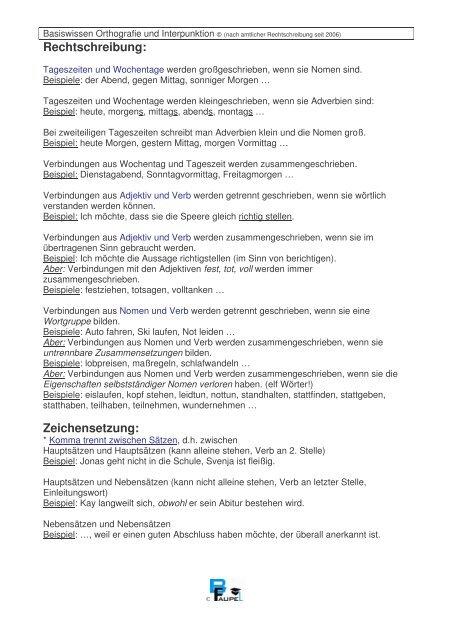 Rechtschreibung Zeichensetzung Bjoernfaupelde