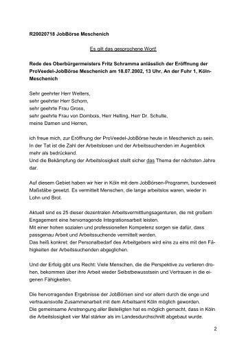Eröffnung der ProVeedel-Jobbörse Meschenich, 18. Juli ... - Stadt Köln