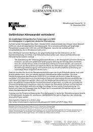 Gefährlichen Klimawandel verhindern! - Germanwatch