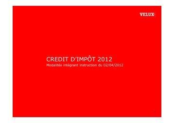 CREDIT D'IMPÔT 2012 - Installateur Velux Isere