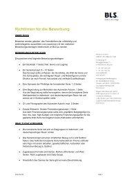Richtlinien für die Bewerbung - BLS
