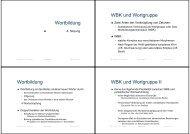 Wortbildung WBK und Wortgruppe Wortbildung WBK