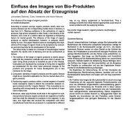 Einfluss des Images von Bio-Produkten auf den ... - AgEcon Search