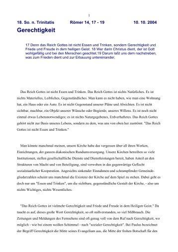 Gerechtigkeit - Vorträge von Reinhart Gruhn