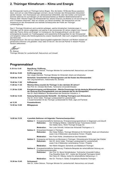 2. Thüringer Klimaforum – Klima und Energie Programmablauf