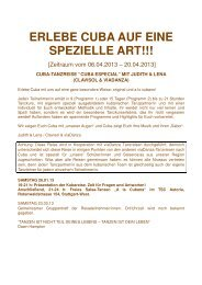 ERLEBE CUBA AUF EINE SPEZIELLE ART!!! - Salsa-Forum.de