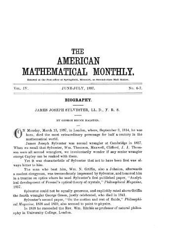 George Bruce Halsted, Biography: James Joseph Sylvester ...