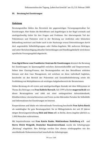 Dokumentation komplett 15 11 09 - BZgA Essstörungen