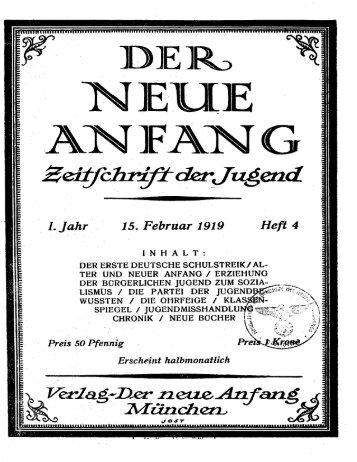 Der neue Anfang : Zeitschrift der Jugend Jahrgang 1 Heft 4 - Edocs