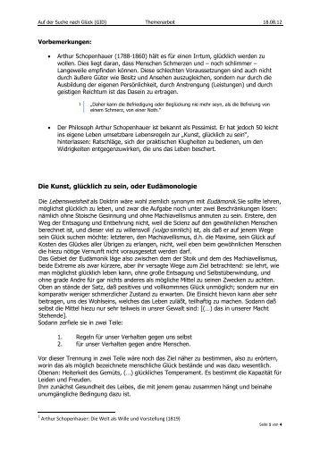 Text von Arthur Schopenhauer [Glück] - Bplaced.net